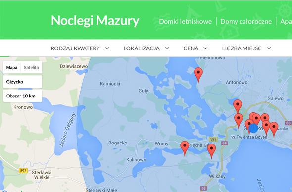 Wyniki wyszukiwania noclegu na Mazurach