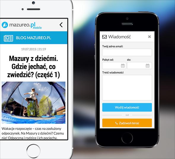 Mazureo.pl - wizualizacja wersji mobilnej